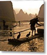 Cormorant Fishermen At Sunset Metal Print