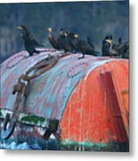 Cormorants On A Barrel Metal Print
