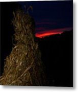 Corn Shock At Setting Sun Metal Print