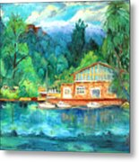 Cornell Boathouse Metal Print by Ethel Vrana