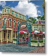 Corner Cafe Main Street Disneyland 01 Metal Print