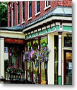 Corner Restaurant With Hanging Plants Metal Print