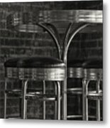 Corner Table - Black And White Metal Print