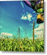 Cornfield View Hot Air Balloons Metal Print by Bob Orsillo