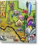 Corpus Christi Texas Cartoon Map Metal Print