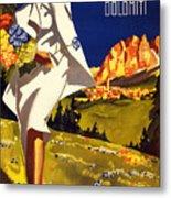 Cortina Dolomiti Italy Vintage Poster Restored Metal Print