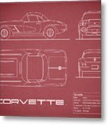 Corvette C1 Blueprint - Red Metal Print