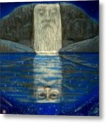 Cosmic Wizard Reflection Metal Print
