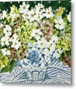 Cosmos And Hydrangeas In A Chinese Vase Metal Print
