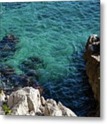 Cote D Azur - Stark White And Silky Azure Blue Metal Print