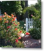 Cottage And Roses Metal Print