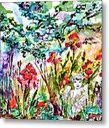 Cottage Garden Angel And Irises Metal Print