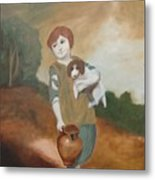Cottage Girl With Dog And Pitcher Metal Print