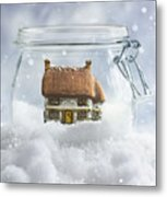 Cottage In Snow Metal Print