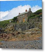 Cottage On Rocks At Port Quin - P4a16009 Metal Print