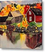 Cottages By A Lake In Autumn  Metal Print