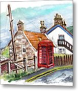 Cottages In Runswick Bay Metal Print