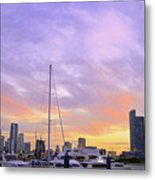 Cotton Candy Sunset Over Miami Metal Print