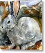 Cottontail In Camouflage Metal Print