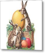 Cottontails And Eggs Metal Print