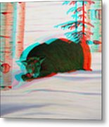 Cougar - Use Red-cyan 3d Glasses Metal Print