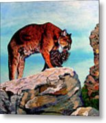 Cougars Mother and Cub Metal Print