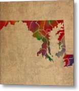 Counties Of Maryland Colorful Vibrant Watercolor State Map On Old Canvas Metal Print