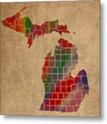 Counties Of Michigan Colorful Vibrant Watercolor State Map On Old Canvas Metal Print