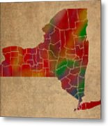 Counties Of New York Colorful Vibrant Watercolor State Map On Old Canvas Metal Print