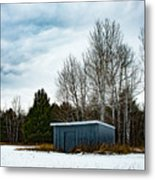 Country Barn In The Snow Metal Print