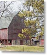 Country Barn With Pine Tree Metal Print