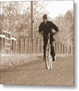 Country Boy And His Bike Metal Print