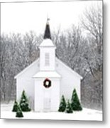 Country Christmas Church Metal Print