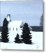 Country Church In Winter Metal Print