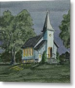 Country Church On A Summer Night Metal Print