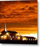 Country Church Sundown Metal Print