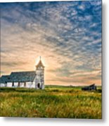 Country Church Sunrise Metal Print