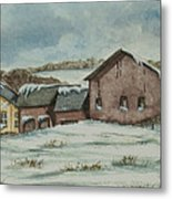 Country Farm In Winter Metal Print