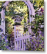 Country Garden Gate Metal Print
