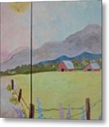 Country Landscape On Barnwood Metal Print
