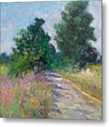 Country Path With Sunflowers Metal Print