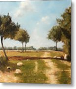 Country Road with Trees Metal Print