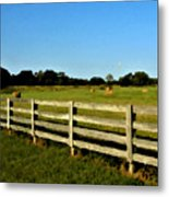 Country Scene With Field And Hay Bales Metal Print