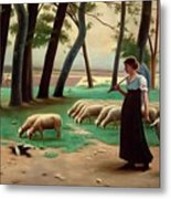Country Shepherdess  Metal Print