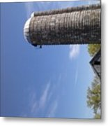 View Of An Old Barn And Silo Metal Print