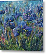 Countryside Irises Oil Painting With Palette Knife Metal Print