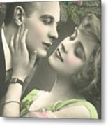 Couple About To Kiss In Front Of Christmas Tree Metal Print