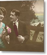 Couple At Beach Colorized Metal Print