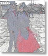 Couple In Red Metal Print