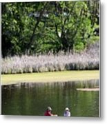 Couple In Row Boat Metal Print